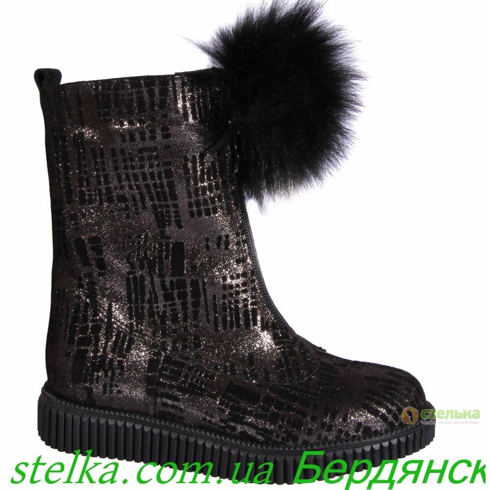 Кожаные зимние сапоги для девочки, обувь Bravi, 6343-1
