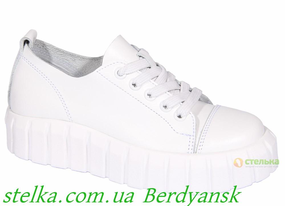 Кожаные белые кеды на платформе, подростковая обувь Tobi, 6860-1