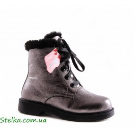 Кожаные зимние ботинки, подростковая обувь для девочки, ТМ Lapsi, 5642-1