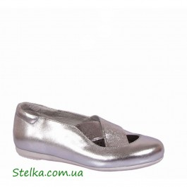 Школьная обувь, кожаные туфли для девочки серебро, Tobi, 5807-1