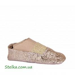 Золотые кожаные чешки для девочки, обувь ТМ Tobi, 6053-1