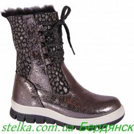 Кожаные зимние сапоги для девочки, брендовая обувь Happy Walk, 6358-1