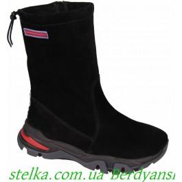 Замшевые осенние сапоги на девочку, обувь Bravi, 6658-1
