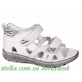 Белые кожаные босоножки на девочку, обувь Minimen, 6811-1