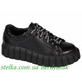 Черные кожаные кеды для девушки подростка, ТМ Bravi, 6838-1